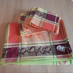 lot 6 serviettes de table nappe Jacquard Citronnier